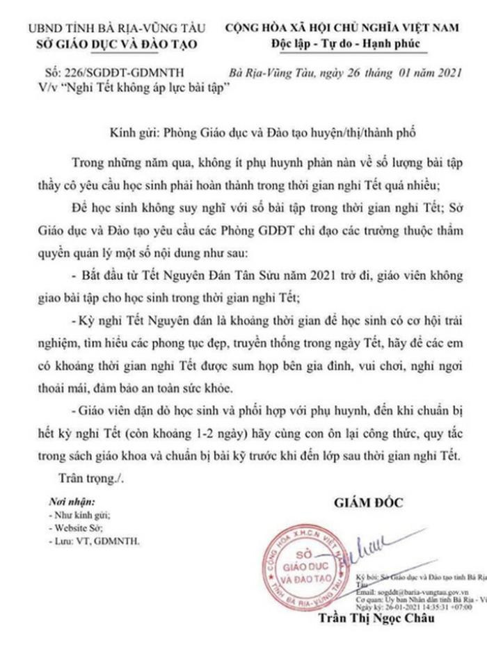 Sau Bà Rịa - Vũng Tàu, thêm 2 tỉnh quyết định không giao bài tập về nhà cho học sinh trong dịp nghỉ Tết Ảnh 3