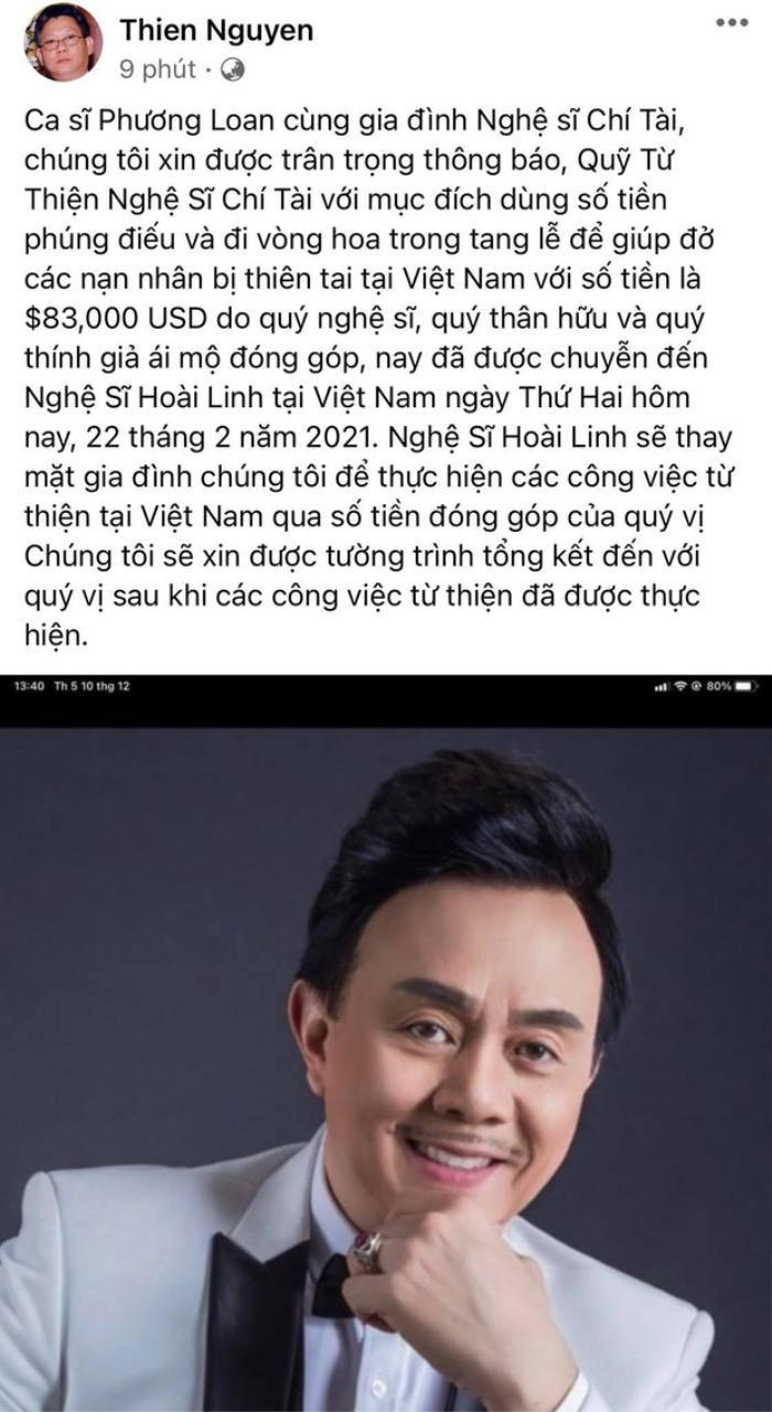 Gia đình cố nghệ sĩ Chí Tài chuyển gần 2 tỷ tiền phúng viếng cho NSƯT Hoài Linh để lập quỹ từ thiện Ảnh 2