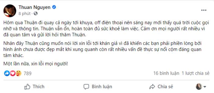 Thuận Nguyễn lên tiếng sau bức ảnh gầy gò trơ xương: Tôi vẫn ổn, xin lỗi vì hình không đẹp mắt Ảnh 2
