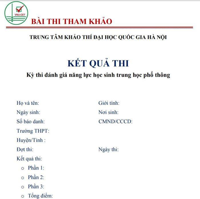 Đại học Quốc gia Hà Nội công bố đề thi tham khảo kỳ thi đánh giá năng lực năm 2021