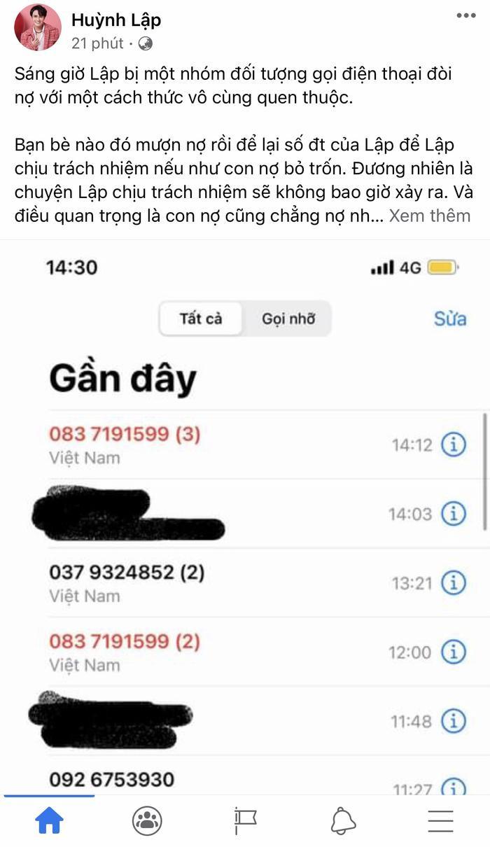 Huỳnh Lập bỗng dưng bị hàng loạt cuộc điện thoại gọi đòi nợ tới tấp