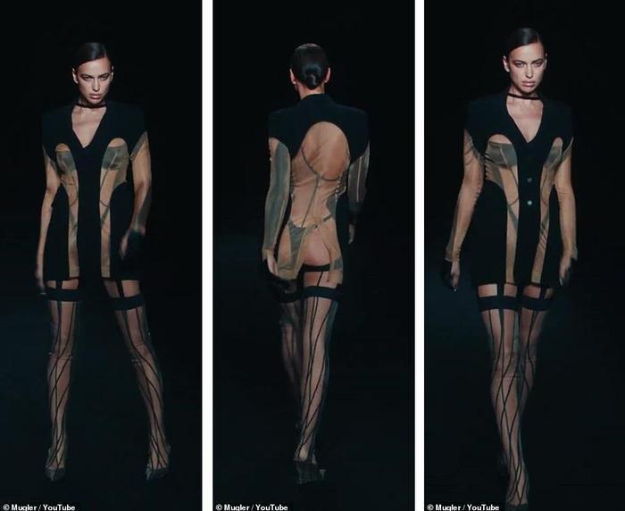Siêu mẫu Bella Hadid để ngực trần trụi khi trình diễn cho show Mugler Ảnh 5