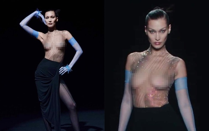 Siêu mẫu Bella Hadid để ngực trần trụi khi trình diễn cho show Mugler Ảnh 1