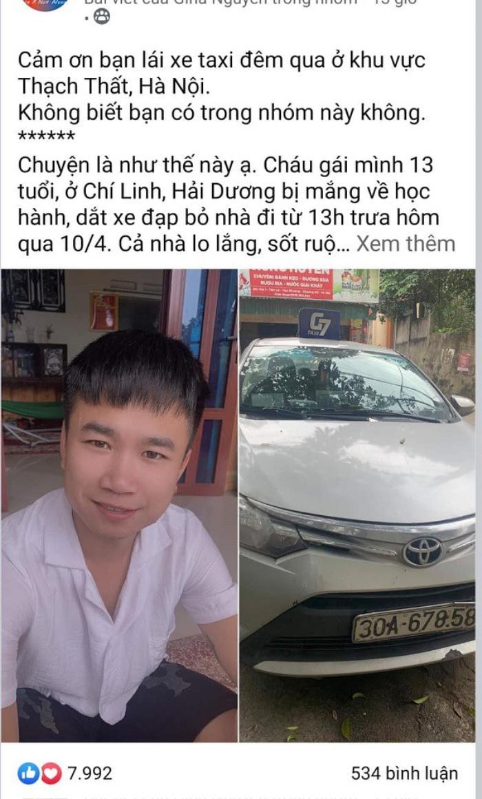 Bé gái 13 tuổi đạp xe từ Hải Dương đến Hà Nội thăm dì rồi đi lạc và hành động nhân văn của tài xế taxi Ảnh 1