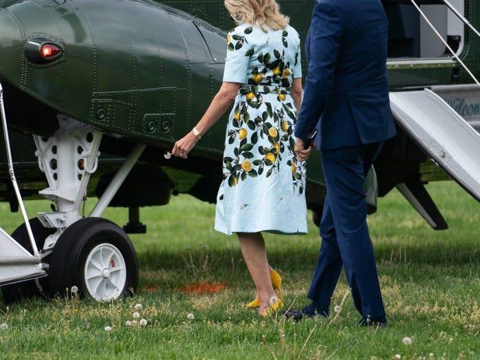 Tổng thống Joe Biden ngắt vội một bông bồ công anh tặng vợ Ảnh 3