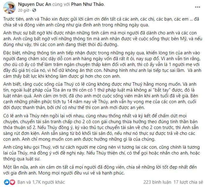 Chồng Phan Như Thảo 'đáp trả' vợ cũ, tuyên bố sẵn sàng rút đơn kiện nếu đồng ý điều kiện này Ảnh 3