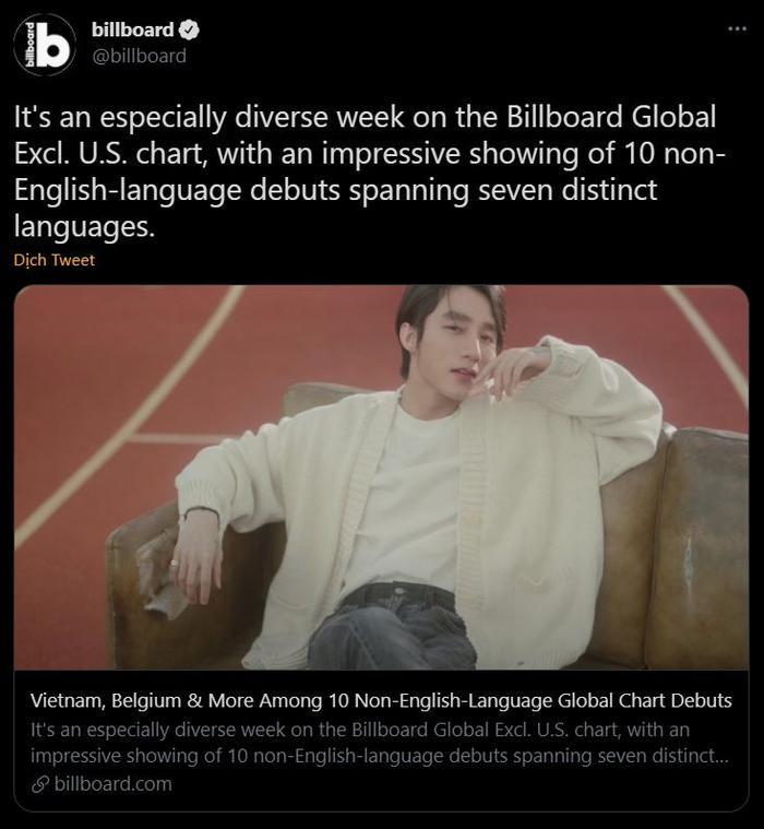 Sơn Tùng bất ngờ xuất hiện trên tài khoản Twitter của Billboard với hơn 11 triệu lượt theo dõi Ảnh 2