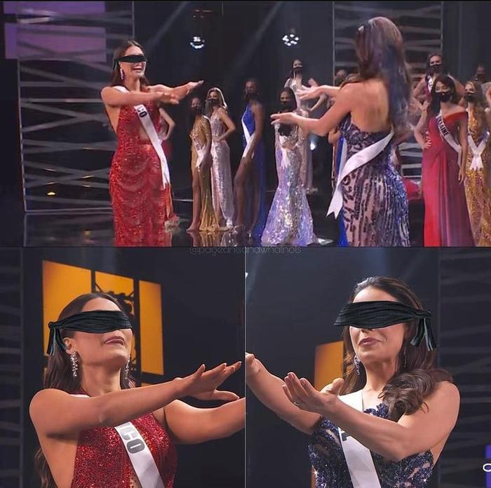 Fan chế ảnh đầy 'ngang ngược' khoảnh khắc 2 nàng hậu chờ được gọi tên đăng quang Miss Universe 2020 Ảnh 6
