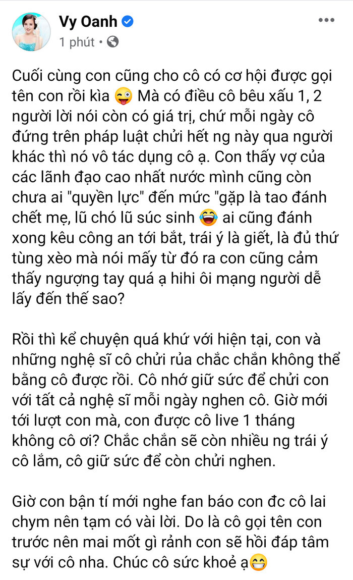 Sau khi chỉ trích vợ ông Dũng 'lò vôi', Facebook Vy Oanh bỗng dưng 'bay màu' khỏi 'cõi mạng' Ảnh 3