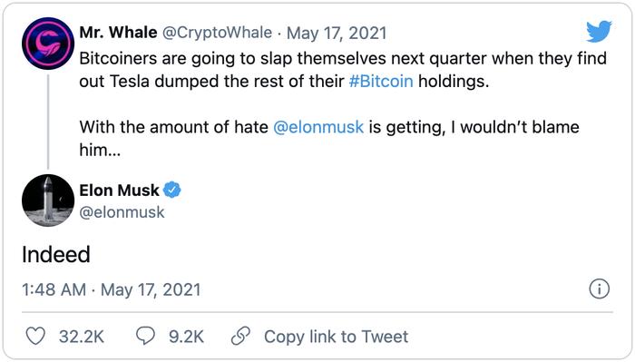 Ngầm khẳng định Tesla đã bán hết Bitcoin, Elon Musk khiến thị trường tiền ảo dậy sóng Ảnh 1