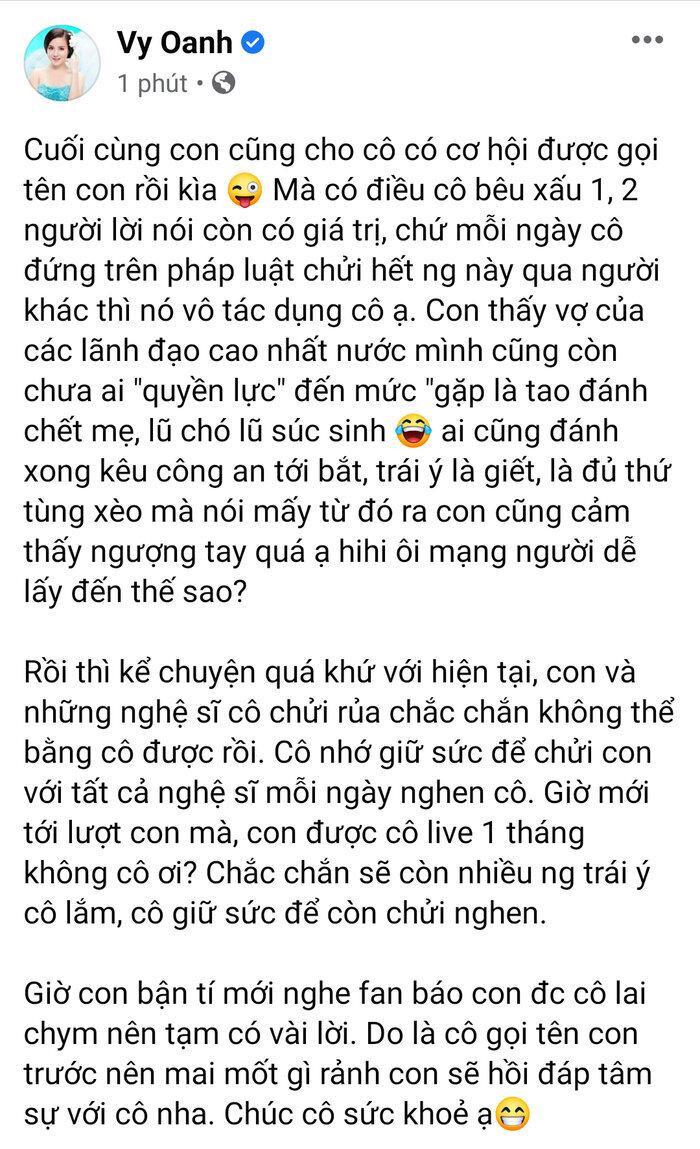 Vừa lấy lại Facebook, Vy Oanh nhắn gửi bà Phương Hằng: 'Tự bịa bao thứ xấu xa nhất, muốn chửi cứ chửi' Ảnh 3