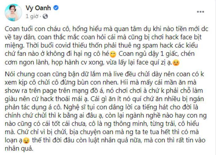 Vừa lấy lại Facebook, Vy Oanh nhắn gửi bà Phương Hằng: 'Tự bịa bao thứ xấu xa nhất, muốn chửi cứ chửi' Ảnh 5