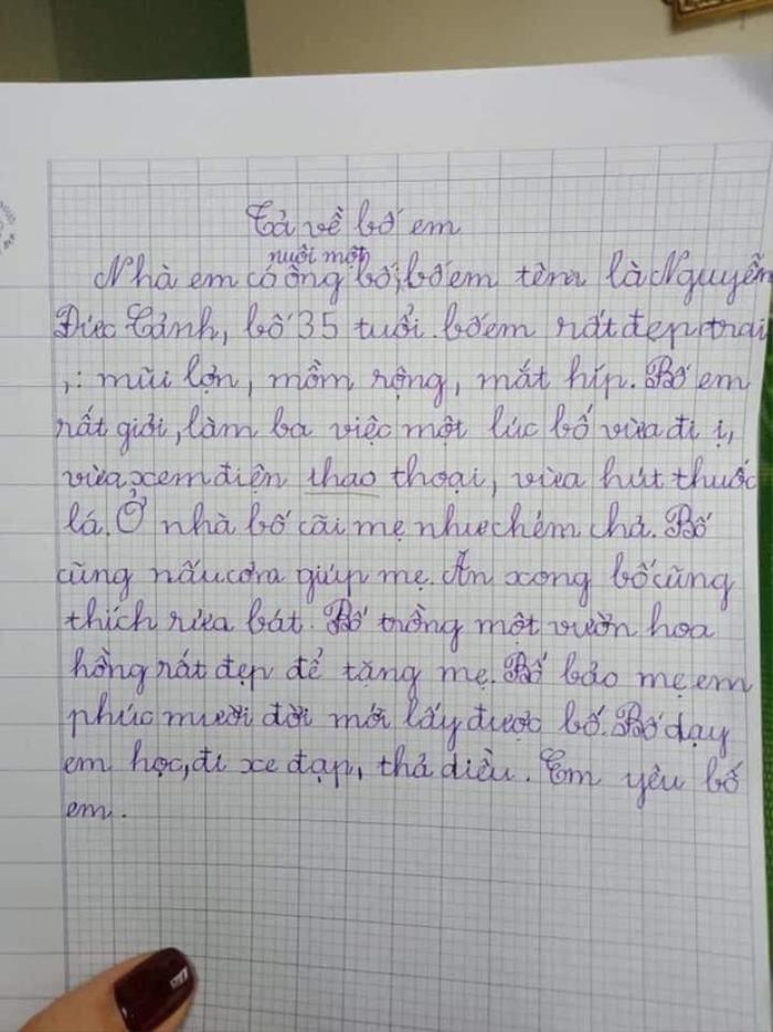 Bài văn miêu tả bố của cô bé tiểu học với loạt ưu điểm 'sai sai' khiến dân tình cười ngất Ảnh 1