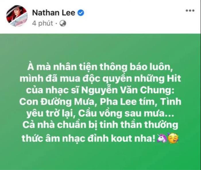 Giữa lùm xùm Nathan Lee mua loạt hit Cao Thái Sơn, Nguyễn Văn Chung: 'Không có chuyện tôi bán để trả nợ' Ảnh 1