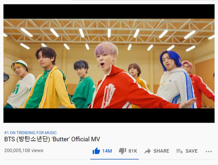 Thừa thắng xông lên, Butter của BTS tiếp tục lập kỷ lục mới về lượt xem Youtube Ảnh 1