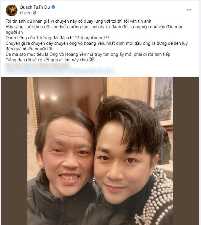 Sao Việt ủng hộ Hoài Linh sau clip nói về số tiền 14 tỷ: Quách Tuấn Du sửa status cả chục lần để bảo vệ Ảnh 2