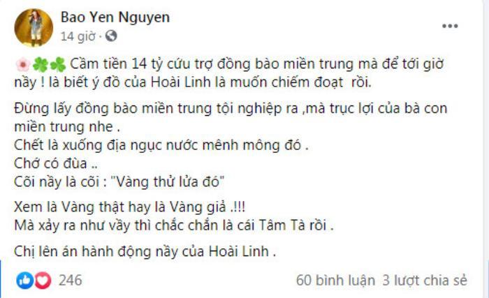 Danh ca Bảo Yến đăng đàn lên án nghệ sĩ Hoài Linh trên mạng xã hội Ảnh 3