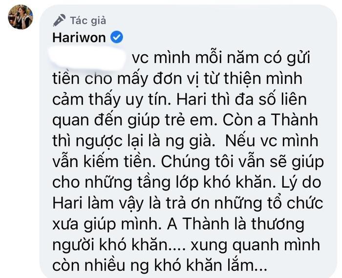 Hari Won tiết lộ vẫn sẽ làm từ thiện sau khi Trấn Thành gặp 'rắc rối' Ảnh 3
