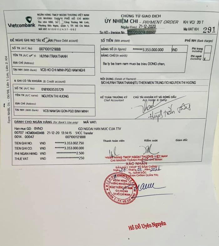 Trấn Thành chính thức tung chứng từ uỷ nhiệm chi và giấy tờ sao kê chuyển 6,45 tỷ cho mẹ Hà Hồ Ảnh 4