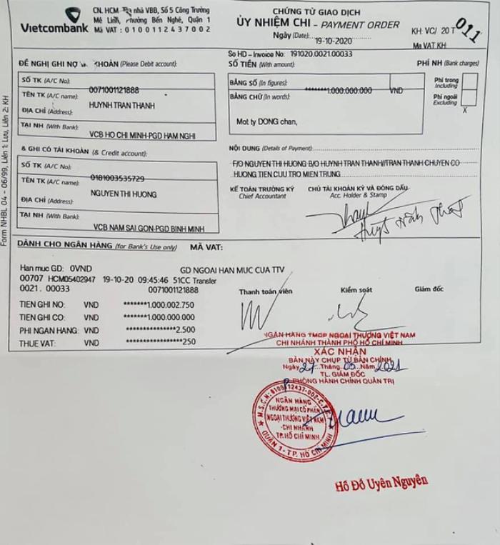 Trấn Thành chính thức tung chứng từ uỷ nhiệm chi và giấy tờ sao kê chuyển 6,45 tỷ cho mẹ Hà Hồ Ảnh 5
