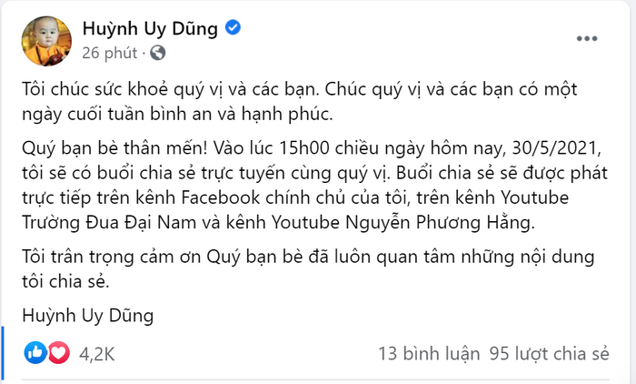 Bà Phương Hằng tuyên bố 'thôi không livestream tối nay', ông Dũng 'lò vôi' bất ngờ đưa ra thông báo mới Ảnh 2