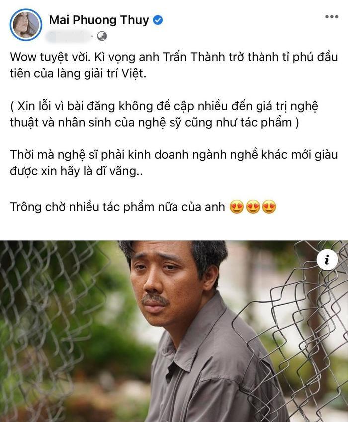 Mai Phương Thuý mong Trấn Thành sẽ là tỉ phú đầu tiên của làng giải trí Việt Ảnh 3