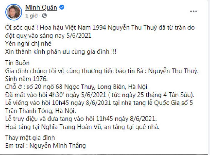 Dàn sao Việt bàng hoàng, tiếc thương trước khi ra đi đột ngột của Hoa hậu Thu Thủy Ảnh 3
