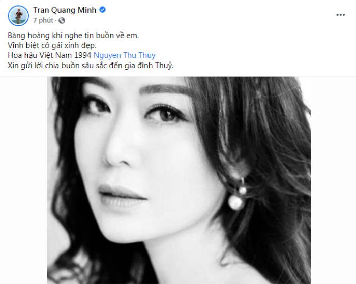 Dàn sao Việt bàng hoàng, tiếc thương trước khi ra đi đột ngột của Hoa hậu Thu Thủy Ảnh 4