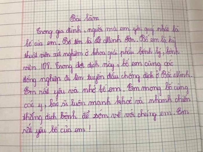 Xúc động với bài văn của học sinh tiểu học gửi đến ông bố đang làm nhiệm vụ ở tuyến đầu chống dịch Ảnh 1