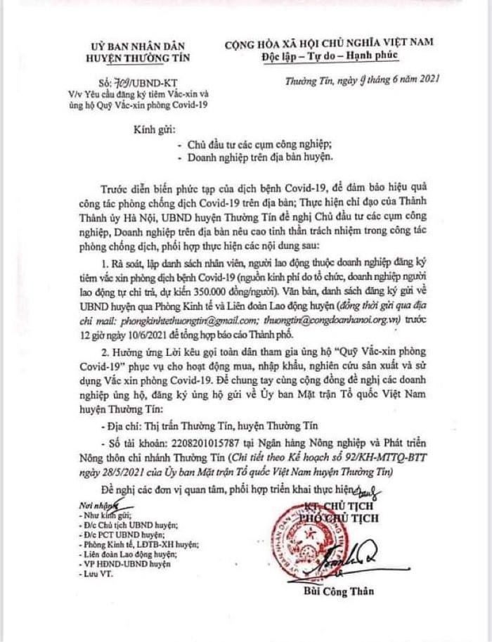 Hà Nội: Thêm một văn bản yêu cầu phải trả 350 nghìn đồng để tiêm phòng Covid-19 Ảnh 1