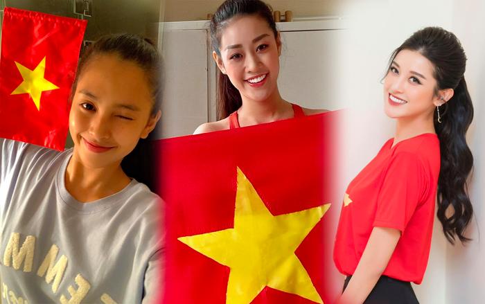 Khánh Vân - Tiểu Vy - Thúy Vân - Huyền My đồng loạt mặc áo cờ đỏ sao vàng cổ vũ đội tuyển Việt Nam Ảnh 1