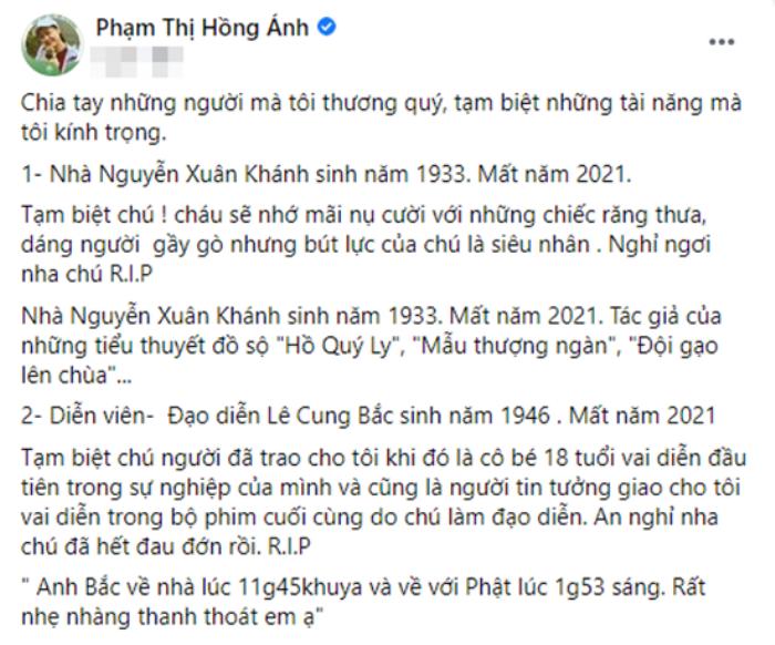 Diễn viên Hồng Ánh xót xa khi nghe tin NSƯT Cung Bắc qua đời: 'Cảm ơn chú đã cho cháu vai diễn ở tuổi 18' Ảnh 4