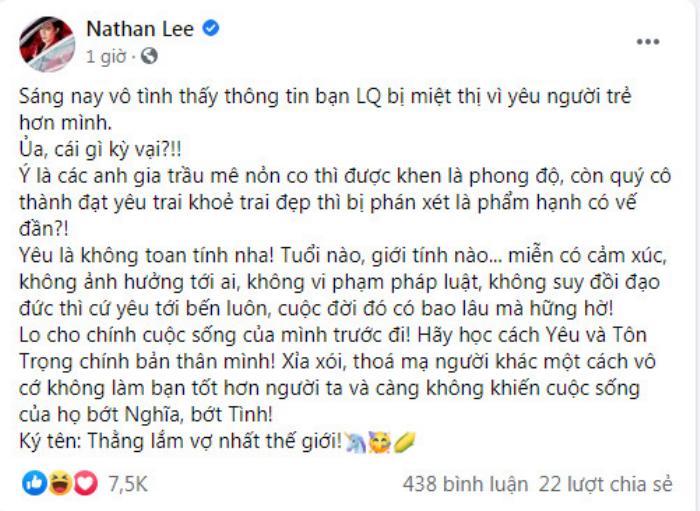 Lệ Quyên bị mỉa mai 'dại trai', Nathan Lee đăng tút ẩn ý: 'Quý cô thành đạt yêu trai trẻ khỏe thì sao?' Ảnh 1