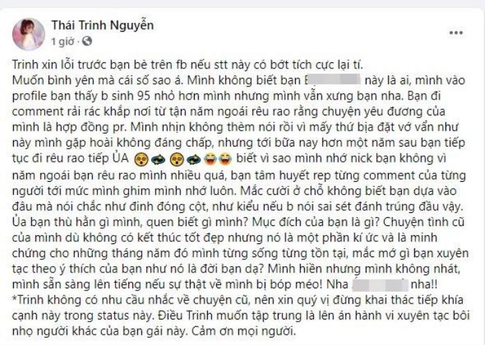 Thái Trinh bức xúc vì bị anti-fan thêu dệt chuyện 'hợp đồng tình yêu' Ảnh 4