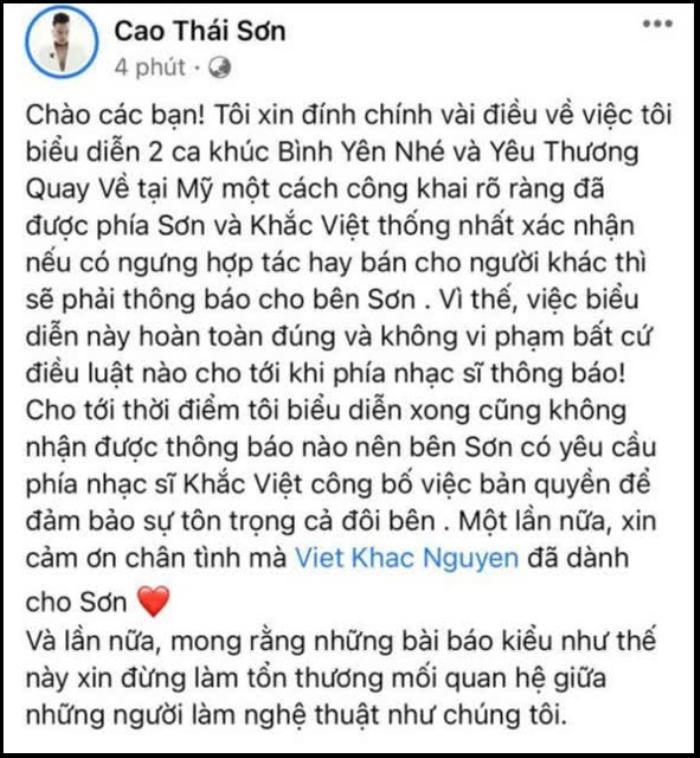 Khắc Việt tố Cao Thái Sơn sống giả tạo, 'hát chùa' ca khúc của mình nhiều năm Ảnh 3