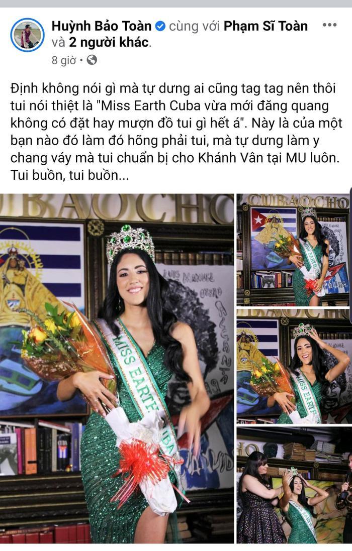 Miss Earth Cuba bị NTK Việt tố mặc đầm nhái anh làm cho Khánh Vân Ảnh 1
