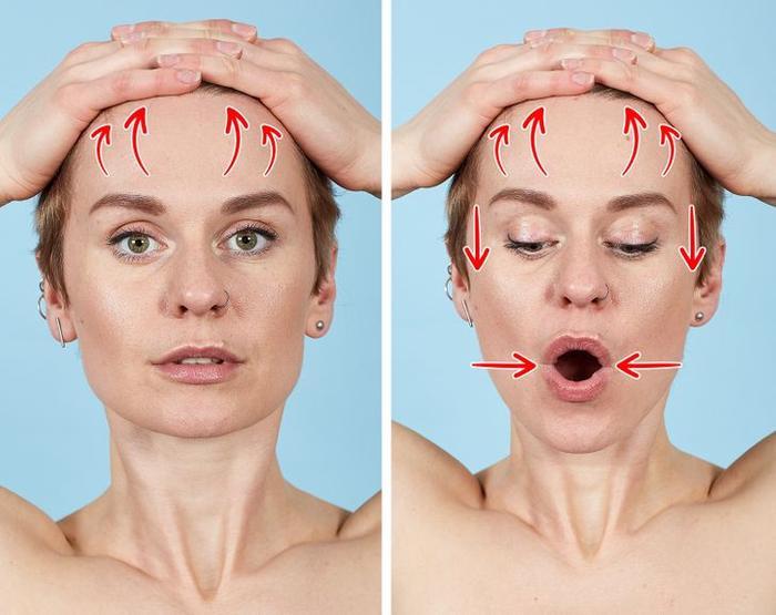 7 bài tập thể dục cho mặt giúp loại bỏ nếp nhăn trong 10 phút Ảnh 7