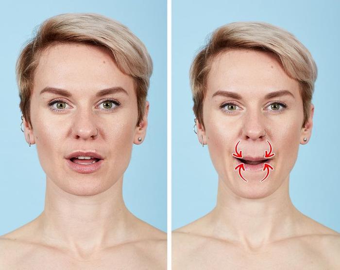 7 bài tập thể dục cho mặt giúp loại bỏ nếp nhăn trong 10 phút Ảnh 6