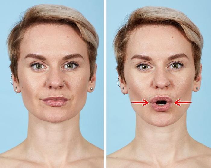 7 bài tập thể dục cho mặt giúp loại bỏ nếp nhăn trong 10 phút Ảnh 3