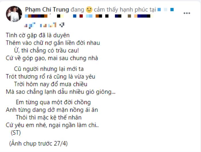 NSƯT Chí Trung làm thơ tình mặn nồng tặng bạn gái đại gia kém 17 tuổi, dặn dò 'bơ' thị phi mà sống Ảnh 1
