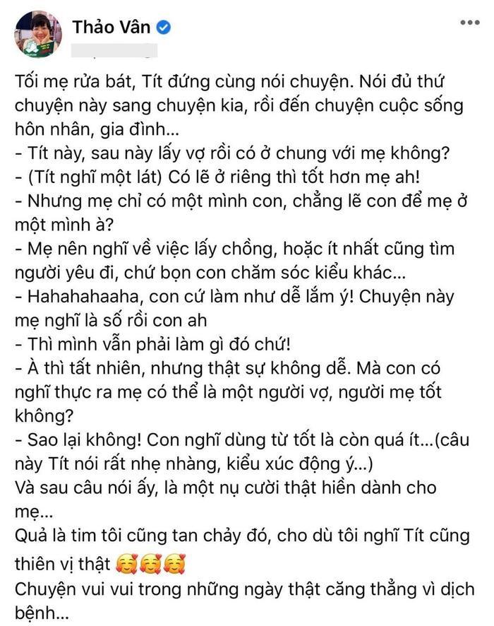 Con trai MC Thảo Vân ủng hộ mẹ đi bước nữa, vợ mới Công Lý bình luận điểm giống nhau của 2 bố con Ảnh 1