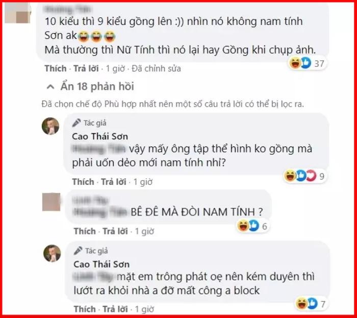 Cao Thái Sơn đáp trả khi bị anti-fan chê 'không nam tính mà hay thích gồng' Ảnh 3