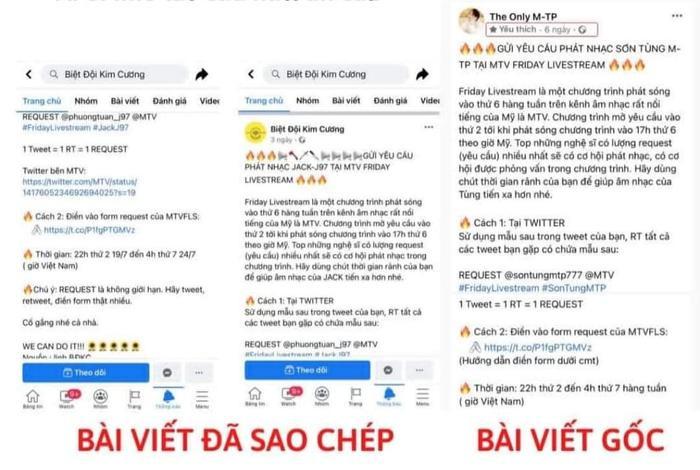 Fandom Jack bị tố 'đạo văn' trắng trợn nội dung kêu gọi bình chọn trên MTV của fandom Sơn Tùng