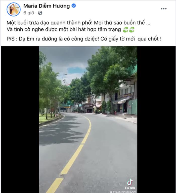 Hoa hậu Diễm Hương khoe clip vi vu đường phố trong thời gian giãn cách, netizen yêu cầu xử phạt nàng hậu