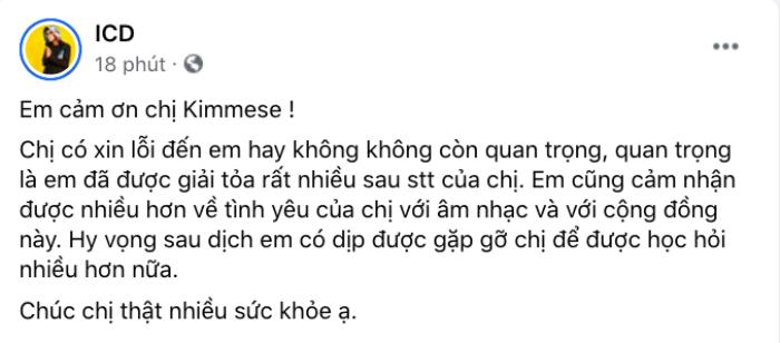 ICD cảm ơn tới Kimmese: 'quan trọng là em đã được giải tỏa rất nhiều' Ảnh 3