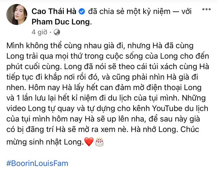 Cao Thái Hà chia sẻ xúc động nhân ngày đặc biệt của cố diễn viên Phạm Đức Long