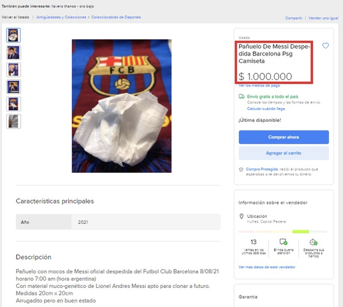 Giấy lau nước mũi của Messi được bán 23 tỷ đồng Ảnh 1