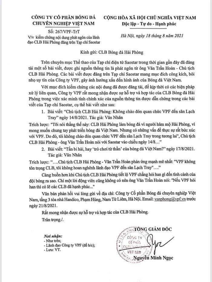 VPF 'tố' bôi nhọ, Chủ tịch CLB Hải Phòng sẽ phản hồi sòng phẳng Ảnh 1