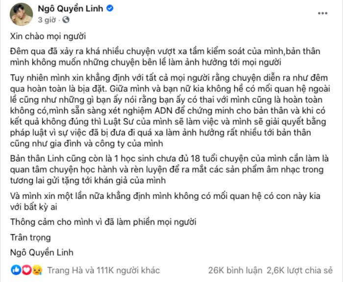 Hotboy Ngô Quyền Linh lên tiếng phủ nhận tin đồn làm người khác có bầu: 'Tôi sẵn sàng xét nghiệm ADN' Ảnh 3