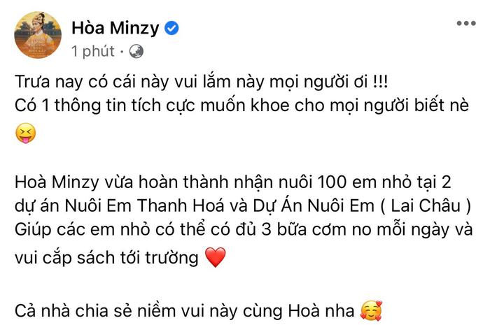 Nhận nuôi 100 trẻ em, Hòa Minzy không giấu sự vui mừng khi báo tin giữa mùa dịch Ảnh 2